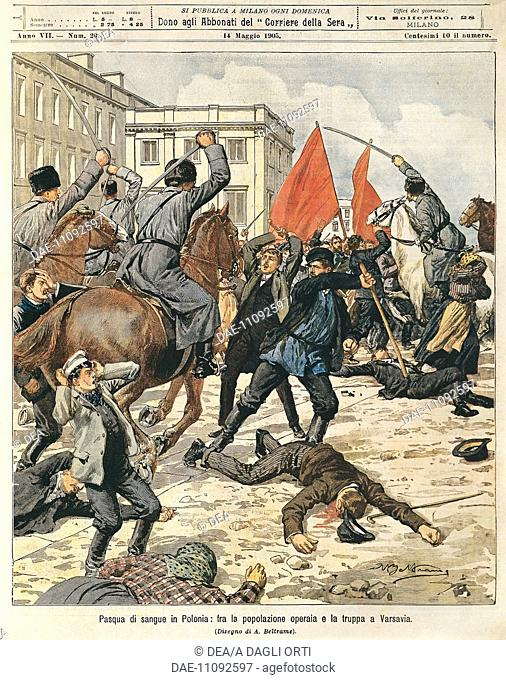 Bloody Easter in Poland: Clashes between workers and police in Warsaw. Illustrator Achille Beltrame (1871-1945), from La Domenica del Corriere, 14th May 1905