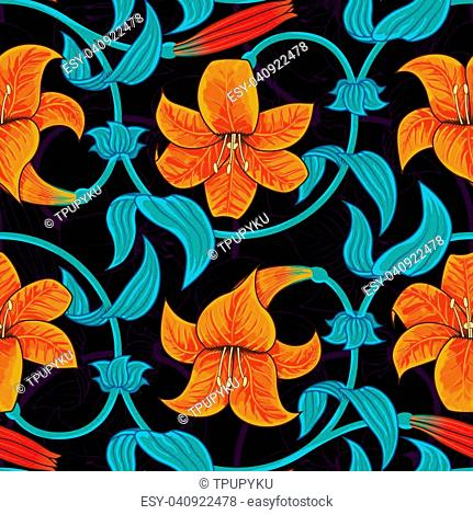 Seamless pattern with lily flowers on dark background. tropical summer, bright blue and orange colors. Vector illustration