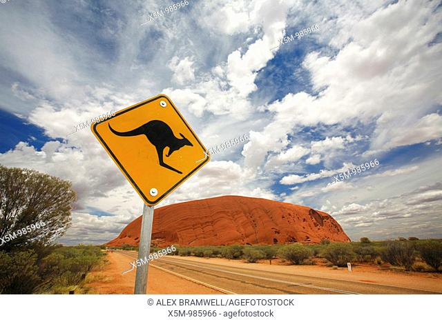 Uluru with Kangaroo Sign  This was the only sign we found around the rock that could be photographed with this angle