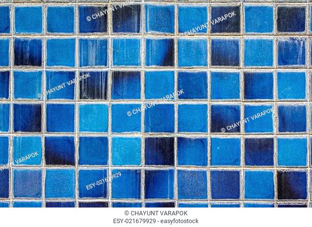 blue ceramic wall tiles and details of surface