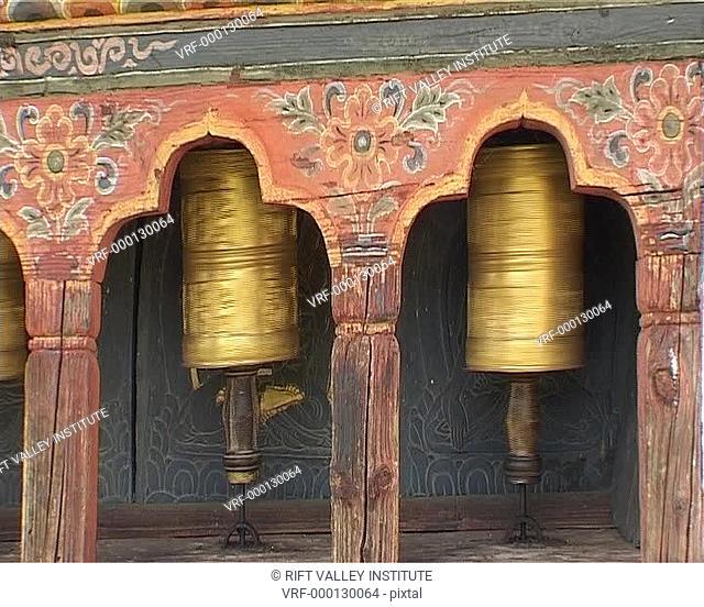 cu prayer wheels. Tibet