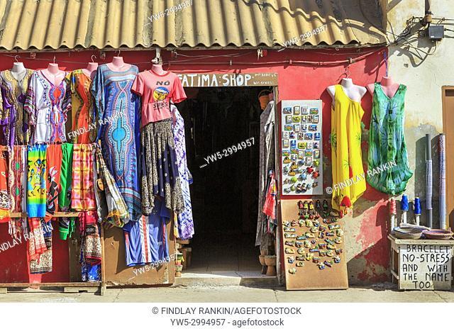 Exterior of a tourists souvenir shop selling clothes and fridge magnets, Santa Maria, Sal, Salinas, Cape Verde, Africa