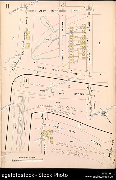 Bronx, V. 13, Plate No. 11 [Map bounded by W. 231st St., Corlear Ave., W. 230th St., Spuyten Duyvil Rd.]. Sanborn Map Company (Publisher)