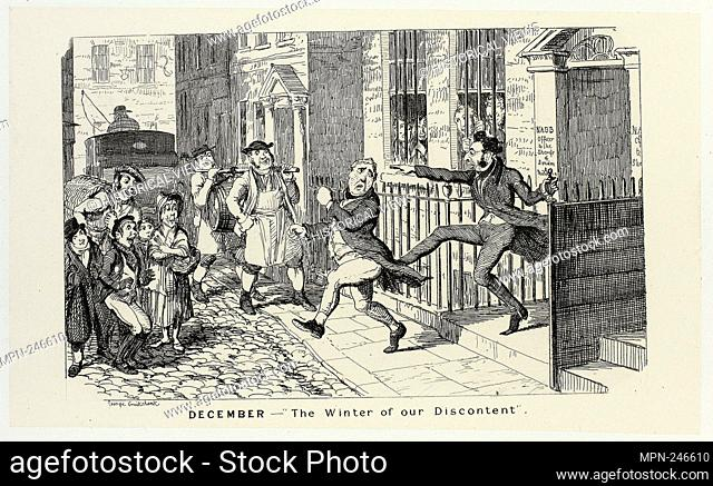 """December - """"""""The Winter of Our Discontent"""""""" from George Cruikshank's Steel Etchings to The Comic Almanacks: 1835-1853 - 1839, printed c"""
