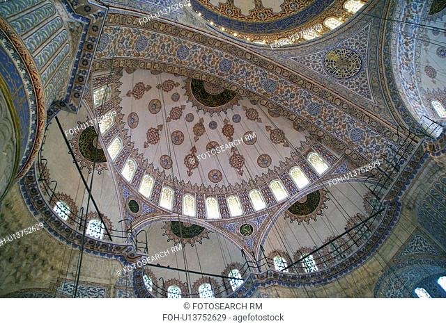 detail ceiling dome blue mosque istanbul camii