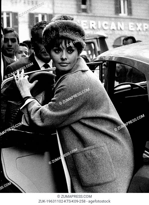 Nov. 2, 1963 - Rome, Italy - Italian Actress SOPHIA LOREN was a sex icon of the 1960s and has starred in over 90 films. PICTURED: Sophia in Rome to complete the...