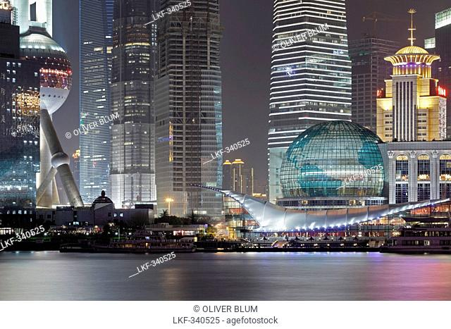 Oriental Pearl Tower and Shanghai International Convention Center at night, Huangpu Riverside, Pudong, Shanghai, China