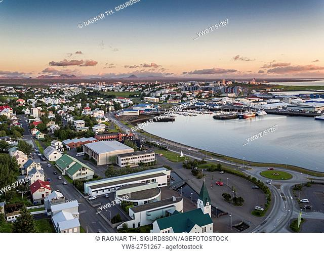 Aerial view of Hafnarfjordur, a suburb of Reykjavik, Iceland. This image is shot using a drone