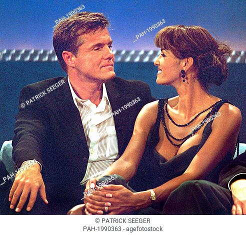 "Musician Dieter Bohlen and his partner in life Nadja Abdel Farrag in ZDF show """"Wetten, dass...?"""", pictured on 16th October 1999, Dornbirn, Austria"