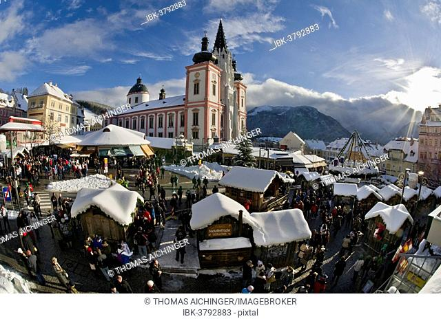 Christmas market in front of the Mariazell Basilica on the main square of Mariazell, Upper Styria, Styria, Austria