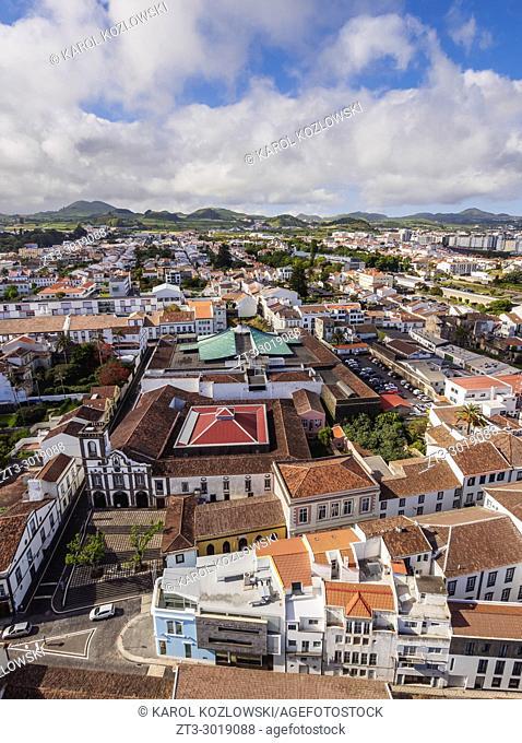 Ponta Delgada, elevated view, Sao Miguel Island, Azores, Portugal