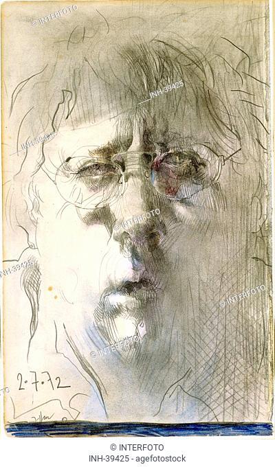 fine arts, Janssen, Horst, 1929 - 1995, drawing, self portrait, 2.7.1972, chalk, pastel, private property, Switzerland, historic, historical, drawings, Europe