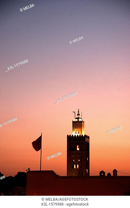 Mosque of Koutoubia  Jemaa el-Fna square  Marrakech  Morocco