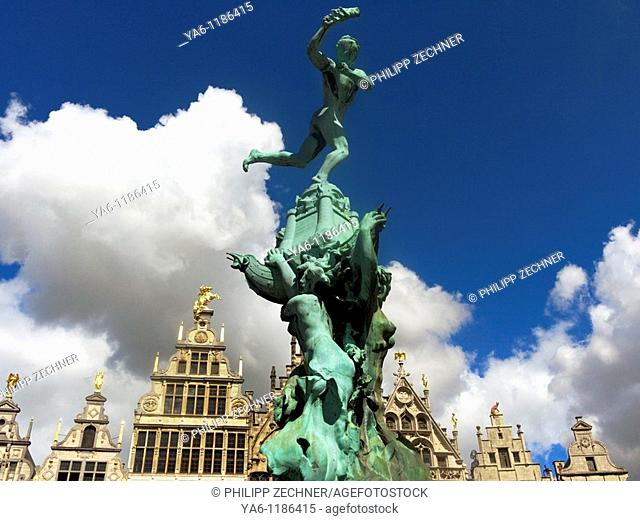 Brabo fountain at the Grote Markt, Antwerp