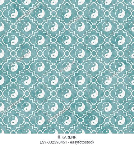 Blue and White Yin Yang Tile Pattern Repeat Background that is seamless and repeats