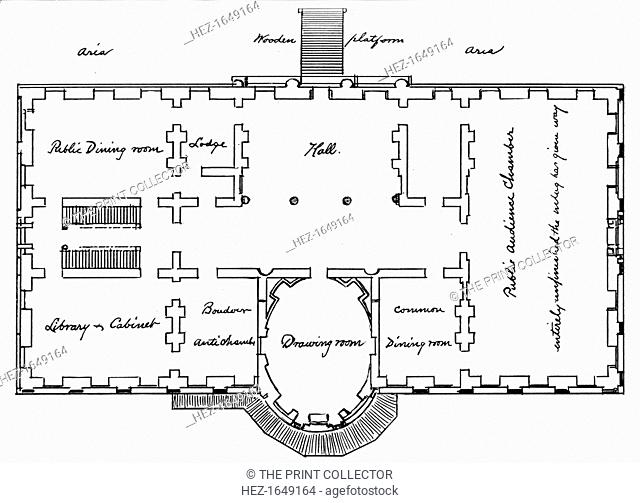 Hoban's original plans for the White House, 18th century (1908). From The Story of the White House, volume I, by Esther Singleton