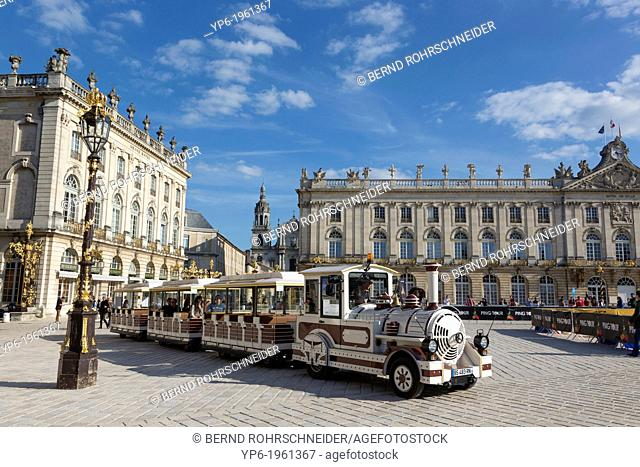 Place Stanislas with town hall and tourist train, Nancy, Meurthe-et-Moselle, France