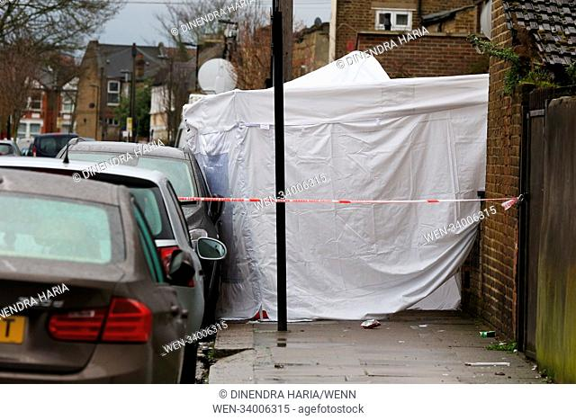 Police tent and cordon off area on Chalgrove Road in Tottenham, north London after a girl of 17 years was shot dead on Monday 2 April 2018