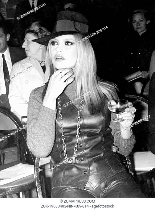 April 3, 1968 - St. Tropez, France - Considered the embodiment of the 1950s and 1960s sex kitten BRIGITTE BARDOT during exclusive fashion show 'Mic Mac ' in...