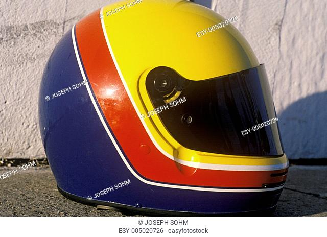 A car racers helmet from the Toyota Grand Prix Race at the Indy Car World Series in Long Beach, CA