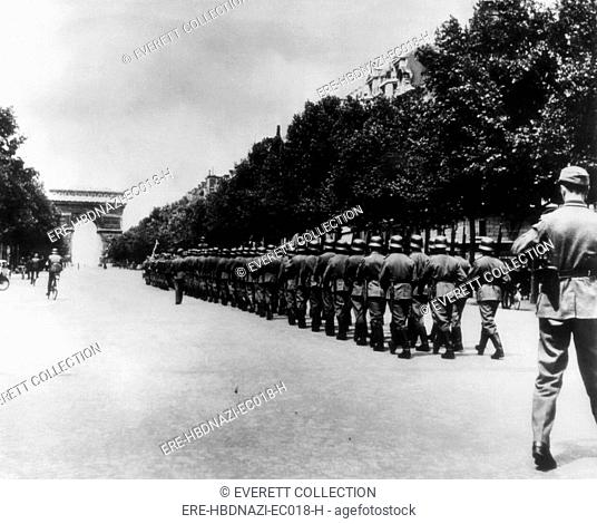 The last Nazi parade on the Champs-Elysees, before the Allied occupation, Paris, France, September 8, 1944
