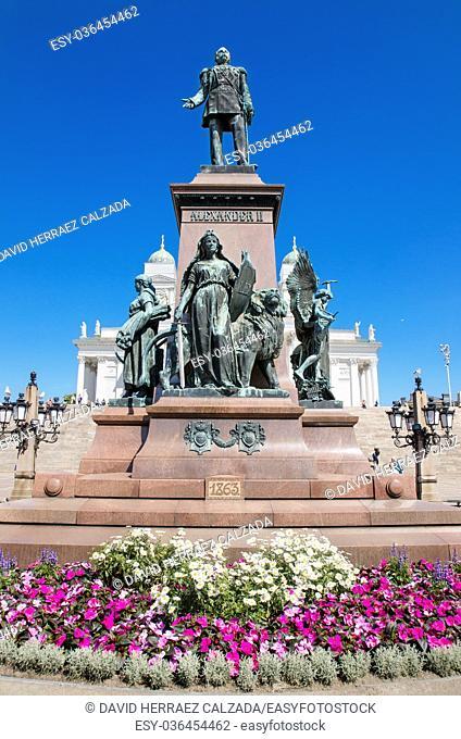 Statue of zar Alexander II in Helsinki, Finland