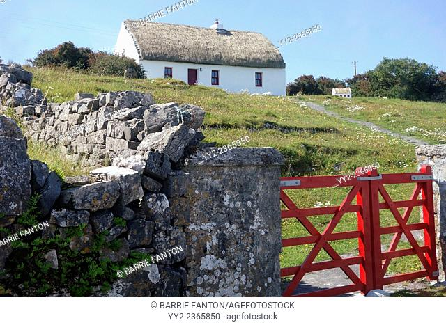 Cottage and Red Fence, Inishmore, Aran Islands, Ireland