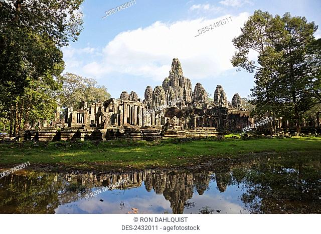 12th century Bayon Temple which is the central temple in Angkor Thom, located north of Angkor Wat; Siem Reap, Cambodia