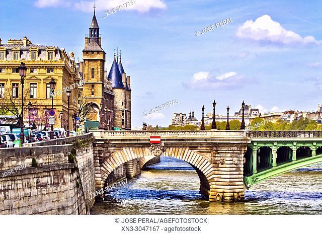 At left Conciergerie Palace, Pont Notre-Dame view from Pont d'Arcole bridge, Île de la Cité, River Seine, Paris, France, Europe
