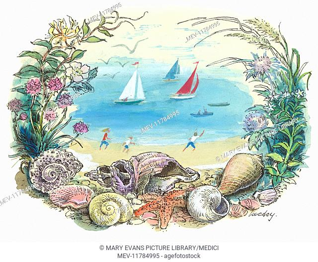 Summer design with figures on a beach and sailing boats framed by seashells and wild flowers in the foreground