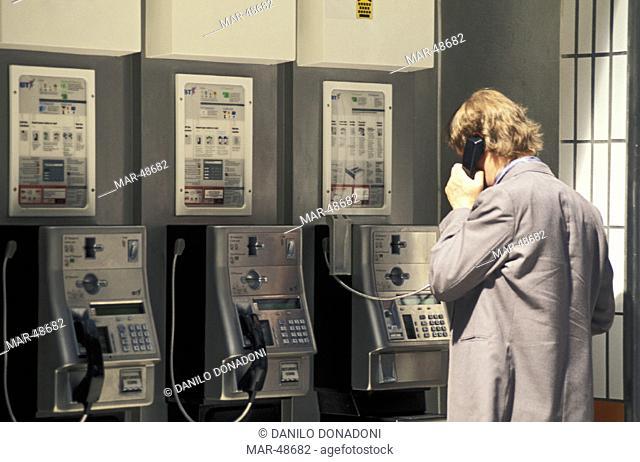 phones at waterloo station, london, great britain