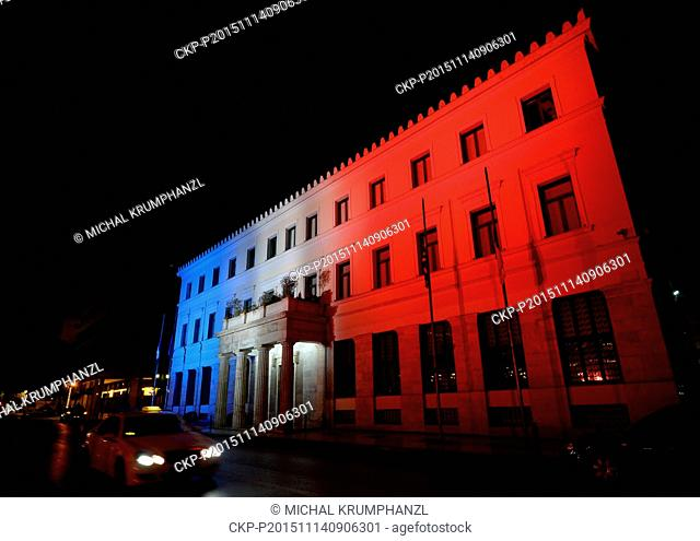 The Athens Town Hall is lit up in the colors of the French flag in solidarity with France, after the Friday's attacks in Paris, in Bratislava, Slovakia