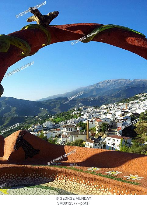 Gaudi style bench at the viewing point above Competa,