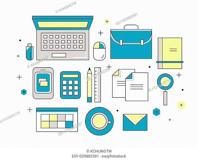 thin line flat design of website programming process