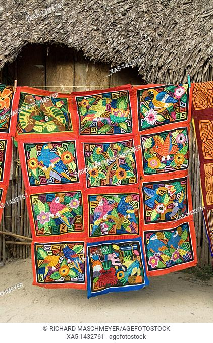Handmade molas on display, Playon Chico village, San Blas Islands also called Kuna Yala Islands, Panama