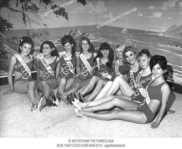 Dec 23, 1967 - Paris, France - Presentation of Miss France 1968 candidates featuring the Olympic malliot one-piece swimsuit