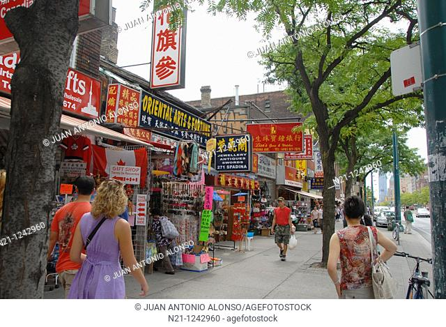 Shops and businesses on Spadina Avenue. Chinatown, Toronto, Ontario, Canada