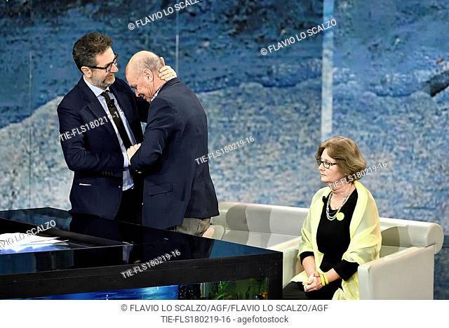 Tv host Fabio Fazio, Claudio and Paola Regeni, parents of Giulio Regeni during the tv show 'Che tempo che fa' Milan, ITALY-17-02-2019