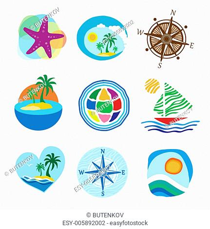 Collection of icons for the travel and tourism