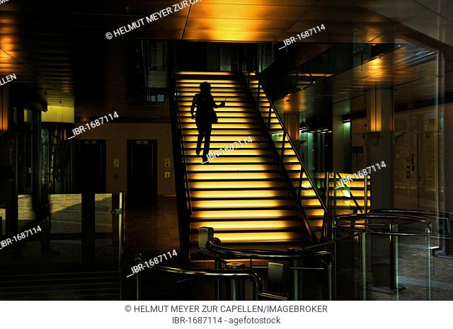 Illuminated staircase at BayernLB, Bavarian commercial bank, Brienner Strasse 18, Munich, Bavaria, Germany, Europe