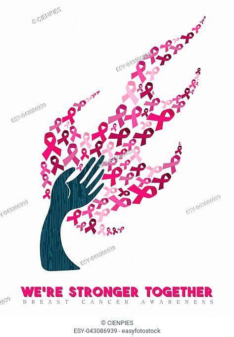 Breast cancer awareness month concept illustration for support. Helping hand with pink ribbons and positive text quote. EPS10 vector