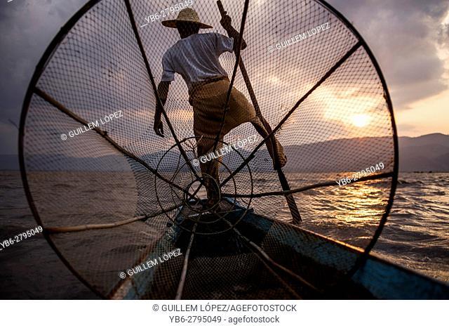 Inle Lake Fisherman at work, Nyaungshwe, Myanmar
