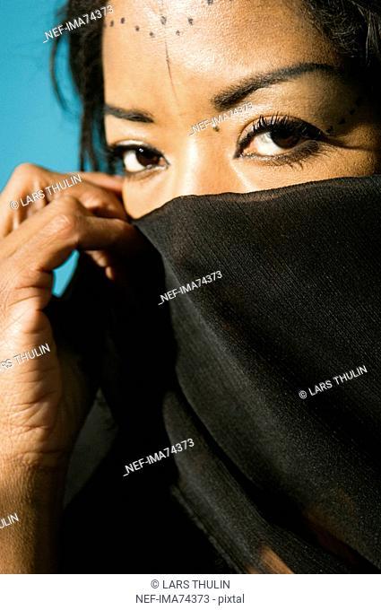 Portrait of an African woman, close-up, Sweden