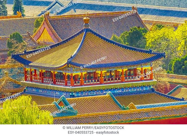 Blue Pavilion Green Trees Forbidden City Beijing China.