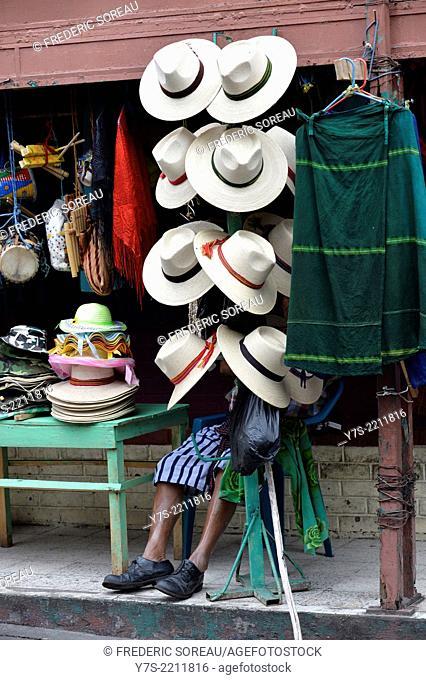 Vendor of straw hat in Santiago de Atitlan, Guatemala, Central America