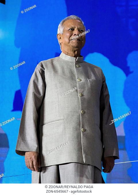 Prof. Muhammed Yunus, Nobel Peace Prize winner AND foundier of the Grameen Bank during the celebration at the Brandenburg Gate to mark the 25th anniversary of...