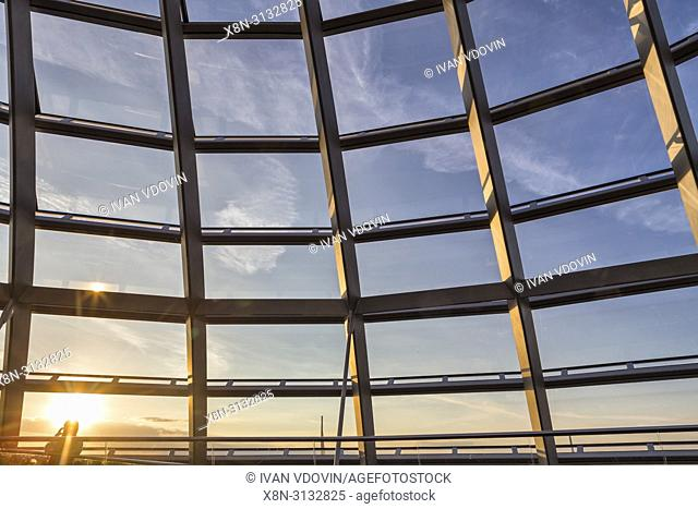 Gass dome of Reichstag building interior, Berlin, Germany