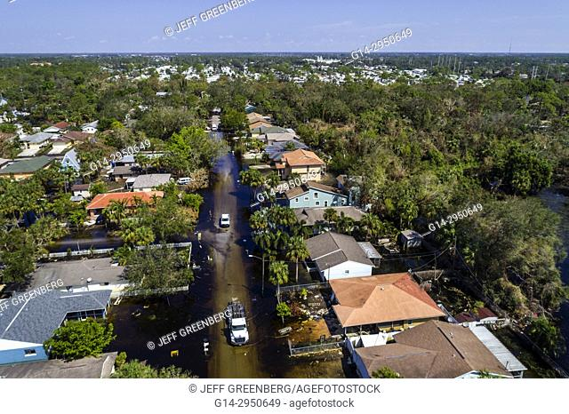 Florida, Bonita Beach, Chapman Avenue Quinn Street, flooding flood, Hurricane Irma, aerial overhead bird's eye view above, homes houses residences