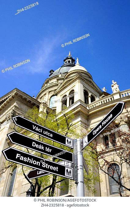 Budapest, Hungary. Signpost to tourist highlights in front of St Steven's Cathedral