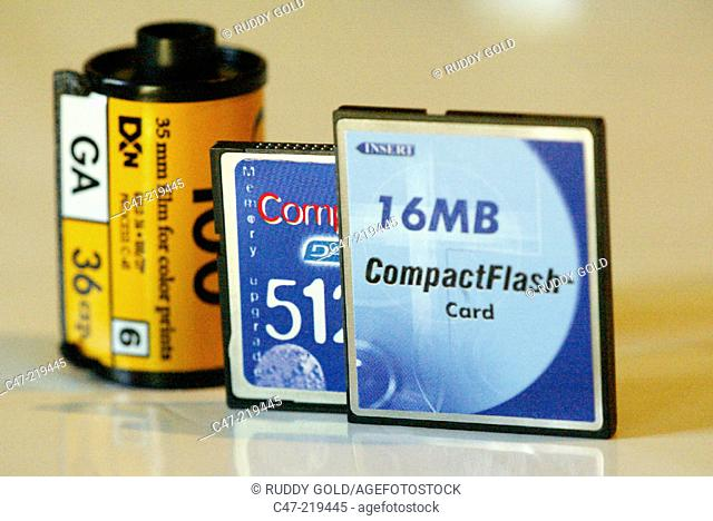 Spool of film and flash cards for digital camera